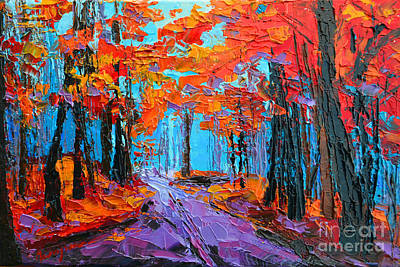 Autumn Forest, Purple Path, Modern Impressionist, Palette Knife Painting Poster