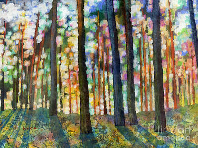 Poster featuring the painting Forest Light by Hailey E Herrera
