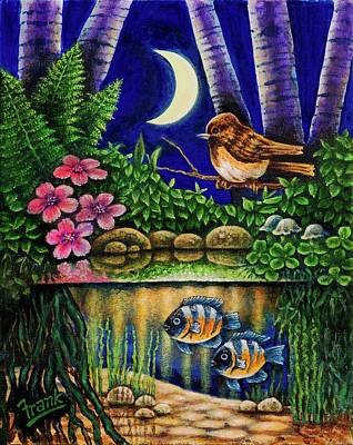 Poster featuring the painting Forest Never Sleeps Chapter Of Quarter Moon by Michael Frank