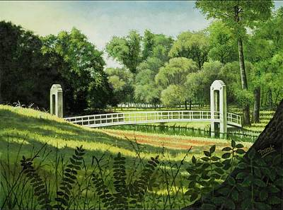 Poster featuring the painting Forest Park Footbridge by Michael Frank
