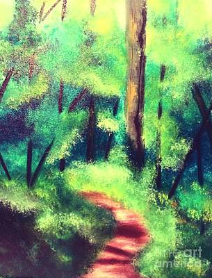Poster featuring the painting Forest Path by Denise Tomasura