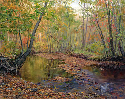 Forest River In Early Fall Poster