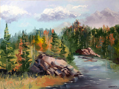 Forest River Landscape Oil Painting By Artist Mark Webster. Poster
