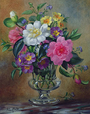 Forget Me Nots And Primulas In Glass Vase Poster by Albert Williams