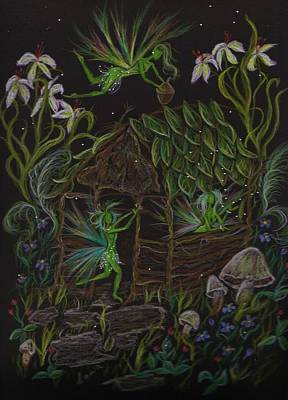 Poster featuring the drawing Forgetmenots by Dawn Fairies
