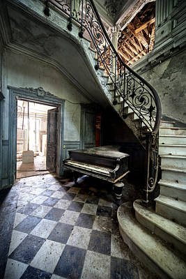 Forgotten Ancient Piano - Urban Exploration Poster by Dirk Ercken