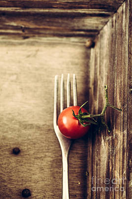 Fork And Tomato Poster by Mythja Photography