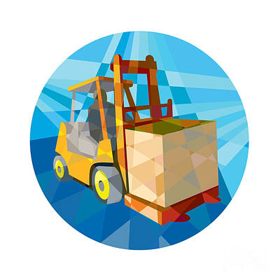 Forklift Truck Materials Box Circle Low Polygon Poster by Aloysius Patrimonio