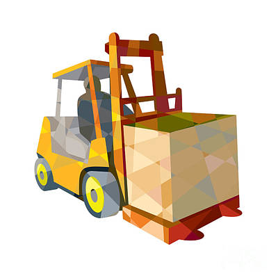 Forklift Truck Materials Handling Box Low Polygon Poster by Aloysius Patrimonio