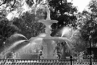 Forsyth Park Fountain In Black And White Poster