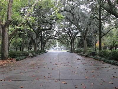Forsyth Park In The Fall Poster by Robin Keith McCown