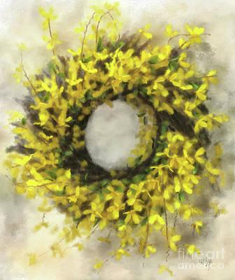 Forsythia Wreath Poster