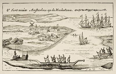 Fort And Settlement Of New Amsterdam On Poster