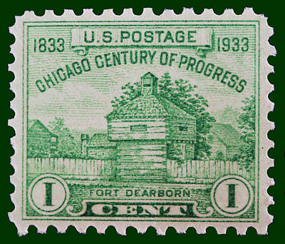 Fort Dearborn Postage Stamp Poster by James Hill