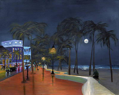 Fort Lauderdale Beach At Night Poster