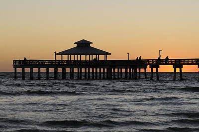 Fort Myers Beach Pier Sunset Poster
