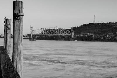 Fort Smith Arkansas River Bridge - Black And White Poster by Gregory Ballos
