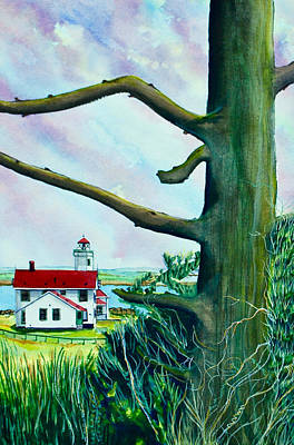 Fort Worden Lighthouse With Tree Poster by Stephen Abbott