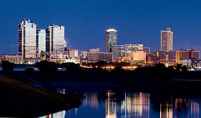 Fort Worth Skyline At Night Poster Poster