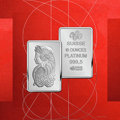 Fortuna Suisse Minted Platinum Bar - Obverse And Reverse Over Red Canvas Poster