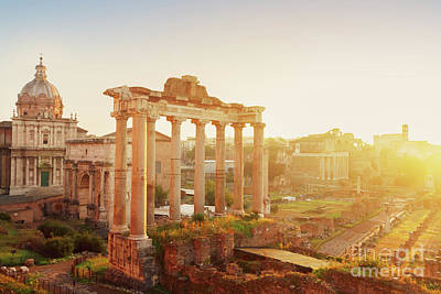 Forum - Roman Ruins In Rome At Sunrise Poster