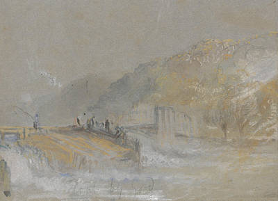 Foul By God River Landscape With Anglers Fishing From A Weir Poster by Joseph Mallord William Turner