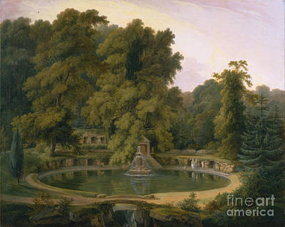 Fountain And Cave In Sezincote Park Poster by Celestial Images
