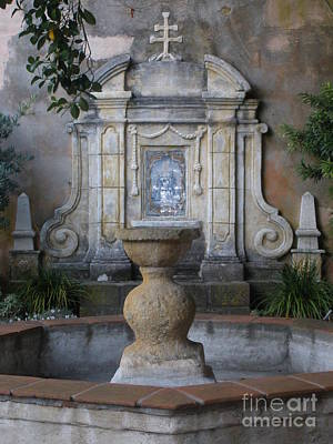 Fountain At Mission Carmel Poster
