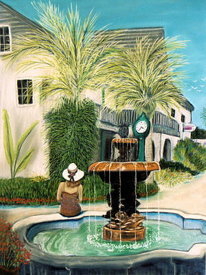 Poster featuring the pastel Fountain At St. Augustine by Jan Amiss