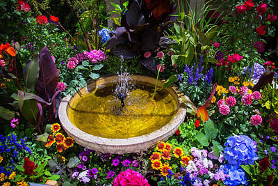 Fountain In Beautiful Garden Poster by Garry Gay