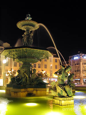 Fountain In Rossio Square Poster