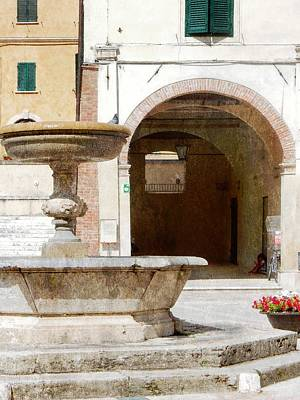 Fountain In The Main Square Cetona Poster by Dorothy Berry-Lound