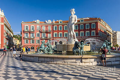 Fountain Of The Sun At Place Massena In Nice Poster by Elena Elisseeva