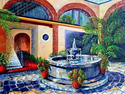 Fountain Patio Poster