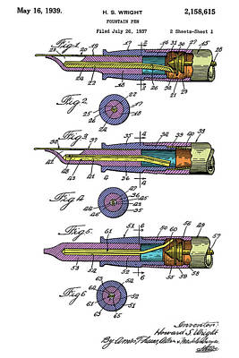 Fountain Pen Patent, Year 1939, Colorful Art Poster