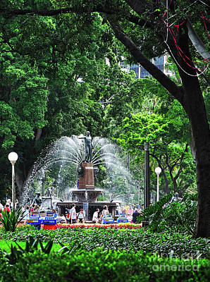Poster featuring the photograph Fountain Through The Trees By Kaye Menner by Kaye Menner