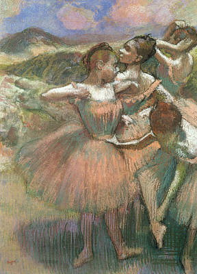 Four Dancers On Stage Poster by Edgar Degas