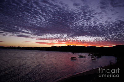 Poster featuring the photograph Four Elements Sunset Sequence 7 Coconuts Qld  by Kerryn Madsen - Pietsch