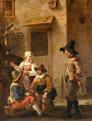 Four Figures Conversing In The Courtyard Of An Italian House Poster