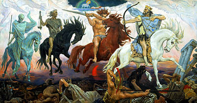 Four Horsemen Of The Apocalypse Poster by Victor Vasnetsov