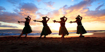 Four Hula Dancers At Sunset Poster