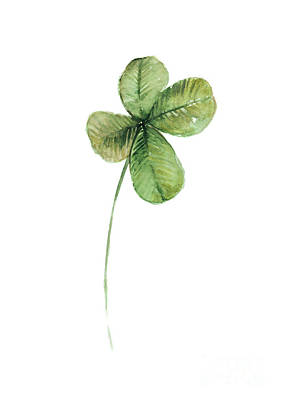 Four Leaf Clover Watercolor Poster Poster by Joanna Szmerdt
