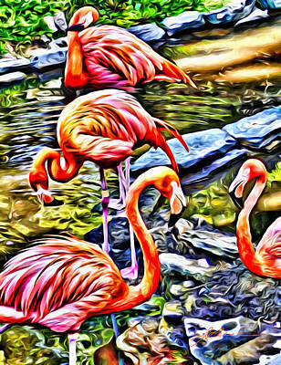 Poster featuring the painting Four Pink Flamingos by Joan Reese