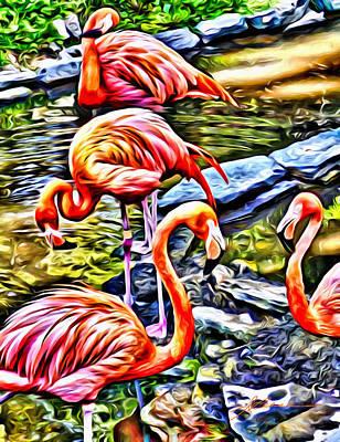 Four Pink Flamingos Poster