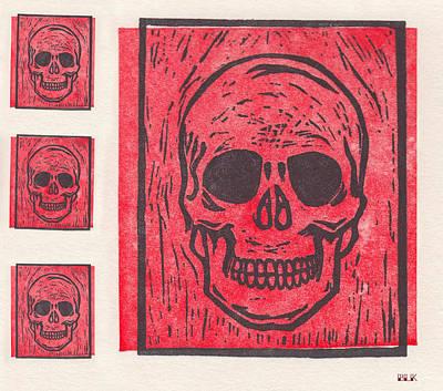 Four Red Skulls Offset Poster
