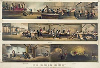 Four Scenes In A Pork Packing House Poster by Everett