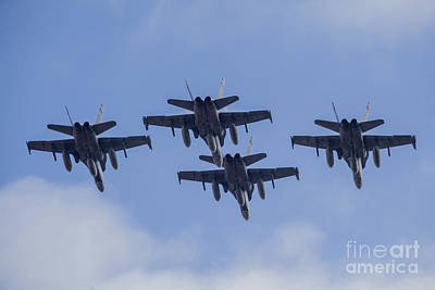 Four Spanish Air Force F-18m Hornets Poster