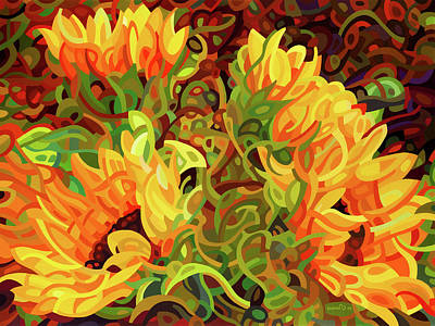 Four Sunflowers Poster by Mandy Budan