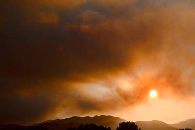 Fourmile Canyon Fire Sun Setting  Poster
