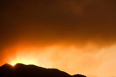 Fourmile Sunset The Night Of The Fire Boulder Canyon Poster